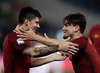 Calcio, Serie A: AS Roma - Benevento, Roma, stadio Olimpico, 11 gennaio 2018.<br /> Roma's Cengiz Under (r) celebrates with his teammate Diego Perotti (l) after scoring during the Italian Serie A football match between AS Roma and Benevento at Rome's Olympic stadium, February 11, 2018.<br /> UPDATE IMAGES PRESS/Isabella Bonotto