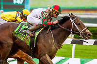 "ELMONT, NEW YORK - OCT 7: Firenze Fire #12, ridden by Irad Ortiz Jr., wins the Champagne Stakes, a ""Win & You're In' event, at Belmont Park on October 6, 2017 in Elmont, New York. ( Photo by Eclipse Sportswire/Getty Images)"