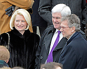 Callista Gingrich, left, former Speaker of the United States House Newt Gingrich (Republican of Georgia), center, and former U.S. Senate Majority Leader Tom Daschle (Democrat of South Dakota), right, prior to the public swearing-in ceremony for U.S. President Barack Obama at the U.S. Capitol in Washington, D.C. on Monday, January 21, 2013..Credit: Ron Sachs / CNP.(RESTRICTION: NO New York or New Jersey Newspapers or newspapers within a 75 mile radius of New York City)