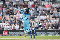 Joe Root (England)  drives into the cover with both feet off the ground during England vs West Indies, ICC World Cup Cricket at the Hampshire Bowl on 14th June 2019