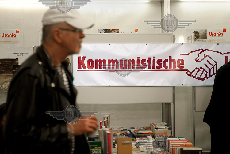Books about communism for sale at a Rosa Luxemburg Conference, an annual event sponsored by Germany's leading communist newspaper, Junge Welt.