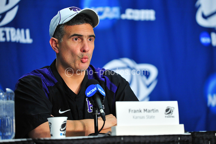 Mar 16, 2011; Tucson, AZ, USA; Kansas State Wildcats head coach Frank Martin during a press conference on the day before the second round of the 2011 NCAA men's basketball tournament at the McKale Center.