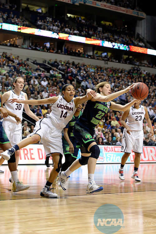08 APR 2014:  Bria Hartley (14) of the University of Connecticut and Madison Cable (22) of Notre Dame University battle for a loose ball during the Division I Women's Basketball Championship held at Bridgestone Arena in Nashville, TN.  Connecticut defeated Notre Dame 78-63 for the national title.  Jamie Schwaberow/NCAA Photos