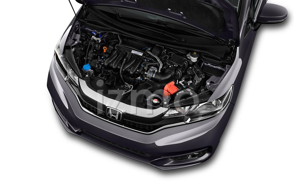 Car stock 2018 Honda Jazz Exclusive 5 Door Hatchback engine high angle detail view