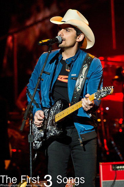 Brad Paisley performs at the Klipsch Music Center in Indianapolis, Indiana.