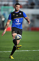 Matt Banahan of Bath Rugby practises his kicking during the pre-match warm-up. European Rugby Champions Cup match, between RC Toulon and Bath Rugby on January 10, 2016 at the Stade Mayol in Toulon, France. Photo by: Patrick Khachfe / Onside Images