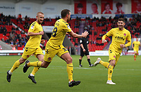 Fleetwood Town's James Wallace (centre) wheels away after scoring his side's second goal<br /> <br /> Photographer David Shipman/CameraSport<br /> <br /> The EFL Sky Bet League One - Doncaster Rovers v Fleetwood Town - Saturday 6th October 2018 - Keepmoat Stadium - Doncaster<br /> <br /> World Copyright © 2018 CameraSport. All rights reserved. 43 Linden Ave. Countesthorpe. Leicester. England. LE8 5PG - Tel: +44 (0) 116 277 4147 - admin@camerasport.com - www.camerasport.com
