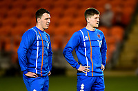 Blackpool's Callum Cooke and Daniel Philliskirk warm up<br /> <br /> Photographer Richard Martin-Roberts/CameraSport<br /> <br /> The EFL Sky Bet League One - Blackpool v Charlton Athletic - Tuesday 13th March 2018 - Bloomfield Road - Blackpool<br /> <br /> World Copyright &copy; 2018 CameraSport. All rights reserved. 43 Linden Ave. Countesthorpe. Leicester. England. LE8 5PG - Tel: +44 (0) 116 277 4147 - admin@camerasport.com - www.camerasport.com