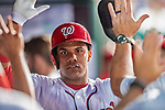 21 May 2018: Washington Nationals outfielder Juan Soto, making his first Major League start, returns to the dugout after scoring Washington's 8th run in the 6th inning against the San Diego Padres at Nationals Park in Washington, DC. The Nationals defeated the Padres 10-2, taking the first game of their 3-game series. Mandatory Credit: Ed Wolfstein Photo *** RAW (NEF) Image File Available ***