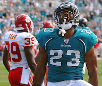 Jacksonville Jaguars rookie running back #23 Rashad Jennings lets out a roar in celebration after scoring his first NFL career touchdown at Jacksonville Municipal Stadium in Jacksonville, Fl. (The Florida Times-Union, Rick Wilson)