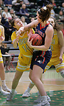 SPEARFISH, SD: DECEMBER 30:  Katie Cunningham #5 of CSU Pueblo shields the ball from Black Hills State defender Alyssia Martinez #14 during their game Saturday evening at the Donald E. Young Center in Spearfish, S.D.   (Photo by Dick Carlson/Inertia