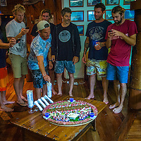Namotu Island, Fiji (Sunday, June 2, 2013) Bede Durbidge (AUS), Yadin Nichol (AUS), Matt Wilkinson (AUS), Chris Prossor (AUS), Johnny Gannon (AUS) and Nick Pollet (AUS)  about to chow down on a sushi platter.- Onshore winds and small surf on offer this morning prompted Volcom Fiji Pro event organizers to call a lay day for competition as the remainder of the window is projecting increased surf and improved conditions.<br /> Event No. 4 of 10 on the 2013 ASP World Championship Tour, the Volcom Fiji Pro has brought the world's best surfers to one of the world's most idyllic surfing destinations in the South Pacific. Over the course of the 13-day window, the ASP Top 34 will do battle at the primary venue of Cloudbreak and potentially the secondary venue of Restaurants as this season's hunt for the world surfing crown continues.<br /> ?Only small surf on offer this morning with poor wind conditions,? Rich Porta, ASP International Head Judge, said. ?We've called a lay day for competition and expect improved conditions throughout the remainder of the event window. We'll be back tomorrow morning to make another assessment.?<br />  Photo: joliphotos.com