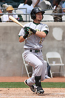 Josh Fellhauer #2 of the Lynchburg Hillcats at bat during a game against the Kinston Indians at Granger Stadium on April 28, 2010 in Kinston, NC. Photo by Robert Gurganus/Four Seam Images.