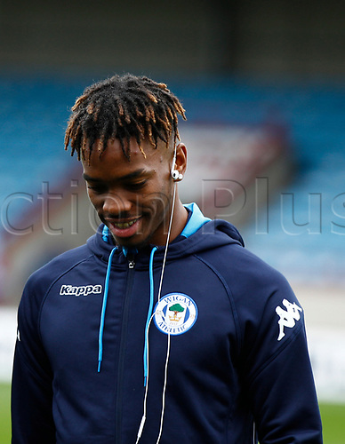 7th October 2017, Glanford Park, Scunthorpe, England; EFL League One football, Scunthorpe versus Wigan; Ivan Toney of Wigan Athletic returns to his former club
