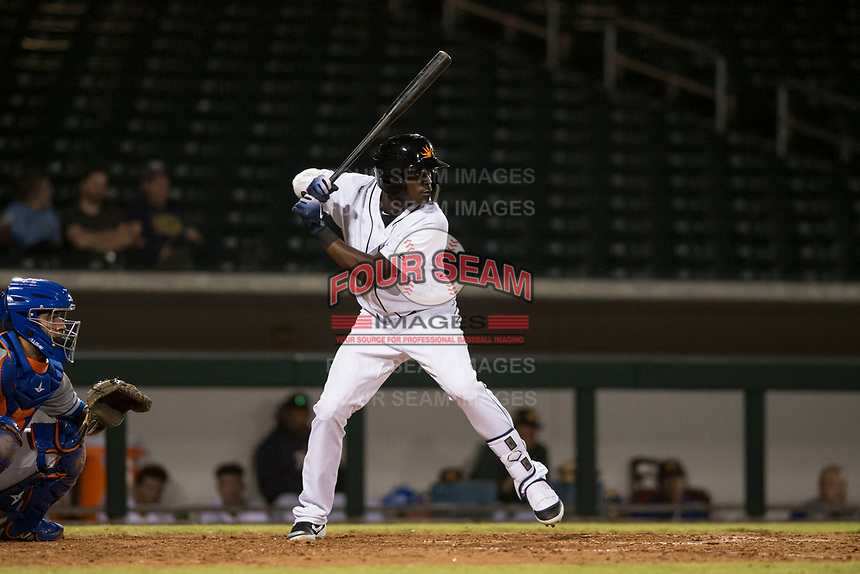 Mesa Solar Sox center fielder Daz Cameron (13), of the Detroit Tigers organization, at bat in front of catcher Ali Sanchez (25) during an Arizona Fall League game against the Scottsdale Scorpions at Sloan Park on October 10, 2018 in Mesa, Arizona. Scottsdale defeated Mesa 10-3. (Zachary Lucy/Four Seam Images)