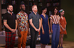 Ian Harvie, Phillip James Brannon, Jesse Tyler Ferguson, Cindy Cheung, Dolly Wells and Talene Monahon during the Opening Night Performance Curtain Call for the Playwrights Horizons world premiere production of 'Log Cabin' on June 25, 2018 at Playwrights Horizons in New York City.