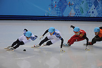 OLYMPICS: SOCHI: Iceberg Skating Palace, 15-02-2014, Short Track, Men's 1000m, Finals, Victor An (#250 | RUS), Vladimir Grigorev (#252 | RUS), Dajing Wu (#212 | CHN), ©photo Martin de Jong