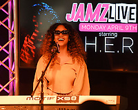 HOLLYWOOD, FL - APRIL 09: H.E.R. visits 99 Jamz Live at radio station 99 Jamz on April 9, 2018 in Hollywood, Florida. <br /> CAP/MPI04<br /> &copy;MPI04/Capital Pictures