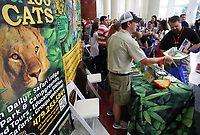 NWA Democrat-Gazette/DAVID GOTTSCHALK   Turpentine Creek Wildlife Refuge was one of 64 vendors that attended Thursday, August 10, 2017, the Springdale Chamber of Commerce's 51st annual Sam's Furniture Teacher Appreciation Day at Springdale High School. More than 2,000 educators were welcomed back and given the opportunity to visit with vendors that included non-profit organizations, education organizations and local businesses and receive a chance to win door prizes among other activities.