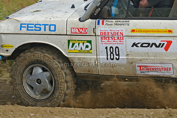 Range Rover Classic 2-door, racing at the Rallye Dresden Breslau 2007. --- No releases available. Automotive trademarks are the property of the trademark holder, authorization may be needed for some uses.