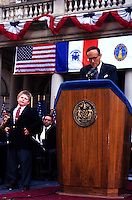 (011222-SWR12.jpg)  New York, NY 1Jan94 -- Andrew Giuliani steals the show as  his father Mayor Rudy Giuliani delivers his inaugural speech on the steps of New York City Hall.