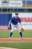 South Bend Cubs third baseman Austin Filiere (21) during the first game of a doubleheader against the Lake County Captains on May 16, 2018 at Classic Park in Eastlake, Ohio.  South Bend defeated Lake County 6-4 in twelve innings.  (Mike Janes/Four Seam Images)