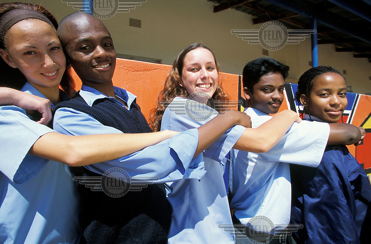 Mixed race students at a private secondary school.