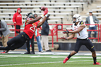 College Park, MD - April 22, 2017: Maryland Terrapins linebacker Antoine Brooks (25) catches an interception during game the Maryland Spring Game at  Capital One Field at Maryland Stadium in College Park, MD.  (Photo by Elliott Brown/Media Images International)