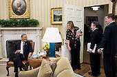 United States President Barack Obama talks with Director of Communications Jennifer Palmieri, National Economic Council Director Gene Sperling, and Senior Advisor Dan Pfeiffer following a meeting in the Oval Office, March 4, 2013. .Mandatory Credit: Pete Souza - White House via CNP