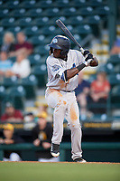Tampa Tarpons center fielder Estevan Florial (34) at bat during a game against the Bradenton Marauders on April 25, 2018 at LECOM Park in Bradenton, Florida.  Tampa defeated Bradenton 7-3.  (Mike Janes/Four Seam Images)