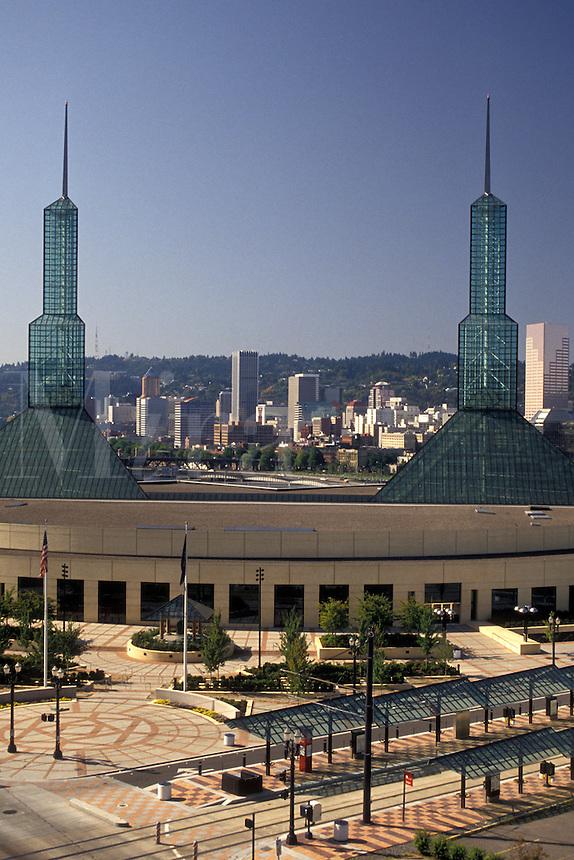 AJ3724, Portland, convention center, Oregon, Oregon Convention Center and downtown skyline of Portland in the state of Oregon.