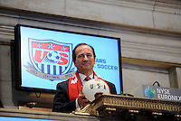 New York Red Bulls General Manager Jerome de Bontin poses for a photo during the centennial celebration of U. S. Soccer at the New York Stock Exchange in New York, NY, on April 02, 2013.