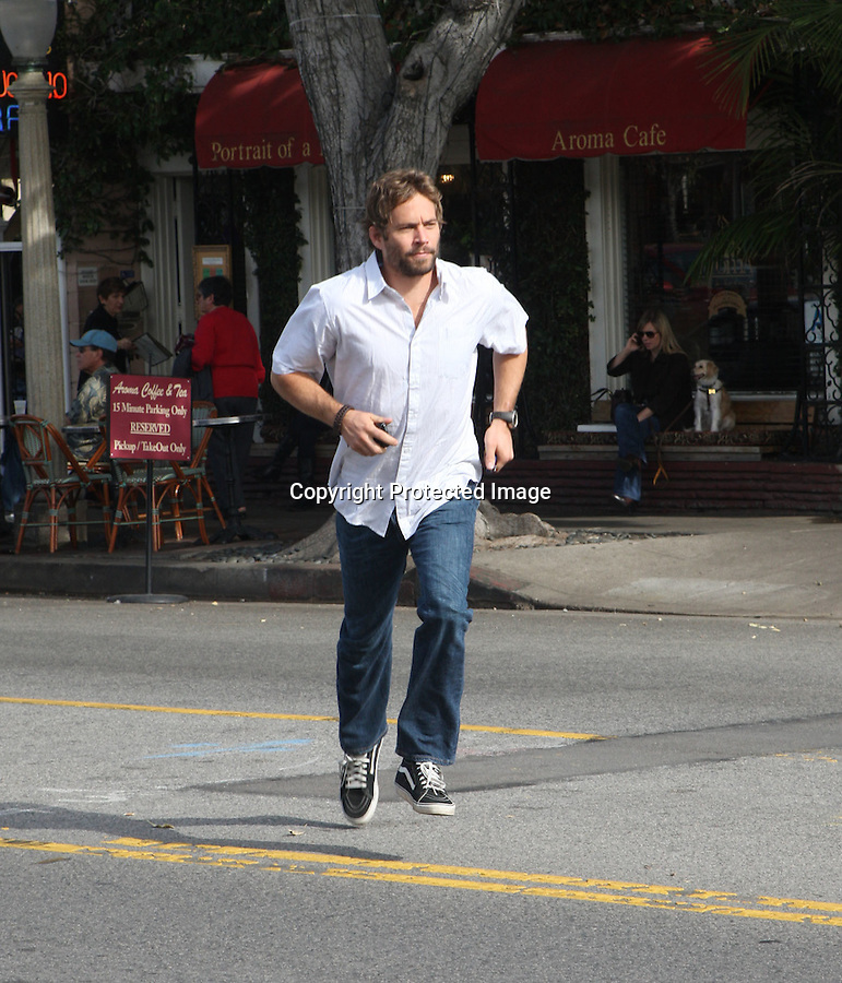 1-8-2010.Exclusive ...Paul Walker had lunch at the Aroma Café in Studio City California. When Paul was finished eating he ran across the street. We all love a celebrity Jay Walkers, especially a Fast & Furious one. ...AbilityFilms@yahoo.com.805-427-3519.www.AbilityFilms.com.