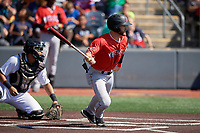 Batavia Muckdogs J.D. Orr (22) bats during a NY-Penn League game against the West Virginia Black Bears on August 29, 2019 at Monongalia County Ballpark in Morgantown, New York.  West Virginia defeated Batavia 5-4 in ten innings.  (Mike Janes/Four Seam Images)