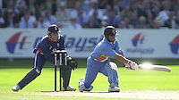 .13/07/2002.Sport - Cricket -NatWest Series Final- Lords.England vs India.Sachin Tendulka, bat catch's the reflection of the Sun..