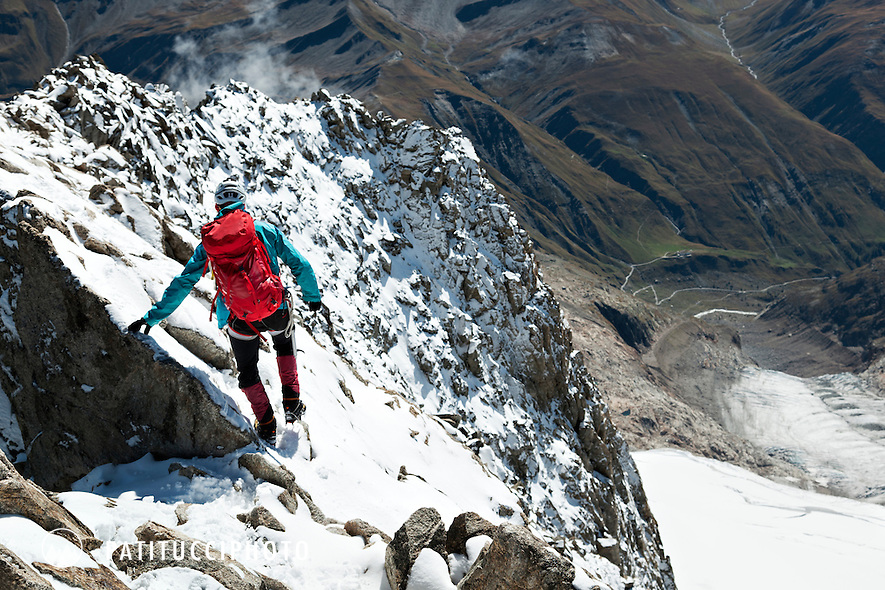 John Harlin's Swiss Borders project ended in September 2011 when he and a group of friends climbed Mont Dolent from the Fiorio Bivouac. With this ascent, John Harlin walked the entire Swiss Border in 105 days.