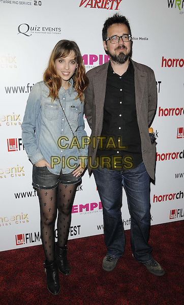 Leticia Dolera & dir. Paco Plaza.attended the '[REC]3 Genesis' film premiere, Film4 FrightFest Day 2, Empire cinema, Leicester Square, London, England, UK, .24th August 2012..full length Denim jeans shorts tights shirt black brown jacket .CAP/CAN.©Can Nguyen/Capital Pictures.