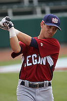 Mark Payton of St. Rita High School in Orland Park, IL. at the Tournament of Stars event run by USA Baseball at the USA Baseball National Training Complex in Cary, NC on June 23, 2009. O'Conner was drafted in the 31st round (945th overall) by the Minnesota Twins in the 2010 MLB Draft.  Photo by Robert Gurganus/Four Seam Images
