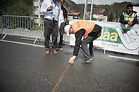 an improvised (clay) line is drawn for the race to re-start.<br /> <br /> Tour of Turkey 2014<br /> stage 4