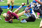 WATERBURY,  CT-101219JS14-  Sacred Heart-Kaynor's Josue Salazar  (1) dives for a first down after getting brought down my Crosby's Johan Medina-Acevedo (70) during their game Saturday at Municipal Stadium in Waterbury.<br /> Jim Shannon Republican-American