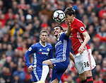 Pedro of Chelsea in action with Matteo Darmian of Manchester United during the English Premier League match at Old Trafford Stadium, Manchester. Picture date: April 16th 2017. Pic credit should read: Simon Bellis/Sportimage