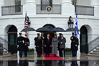 United States President Donald J. Trump, center left, and First lady Melania Trump, center right, stand for photographs with the Prime Minister of Greece Kyriakos Mitsotakis, right, and his wife Mareva Grabowski, left, outside of the White House in Washington, D.C., U.S., on Tuesday, January 7, 2020.<br /> <br /> Credit: Stefani Reynolds / CNP/AdMedia