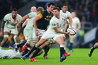 Ben Youngs of England looks to pass the ball. Old Mutual Wealth Series International match between England and South Africa on November 12, 2016 at Twickenham Stadium in London, England. Photo by: Patrick Khachfe / Onside Images