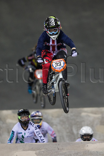 09.04.2016. National Cycling Centre, Manchester, England. UCI BMX Supercross World Cup day 1. Danielle George.
