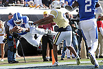 Quarterback Stephen Johnson #15 of the Kentucky Wildcats dives in for a touchdown during the second half of the TaxSlayer Bowl against the Georgia Tech Yellow Jackets at EverBank Field on Saturday, December 31, 2016 in Jacksonville, Florida. Photo by Michael Reaves | Staff.