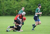 RUGBY: GORREDIJK: Sportpark Kortezwaag, 26-05-2013, Friesland Cup, Drachtster Rugbyclub - RC De Wrotters (groen), Suzan Zijlstra als enige vrouw tussen de mannen, ©foto Martin de Jong