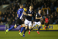 Steven Fletcher of Sheffield Wednesday controls the ball on his chest as Millwall's Jake Cooper looks on during Millwall vs Sheffield Wednesday, Sky Bet EFL Championship Football at The Den on 12th February 2019