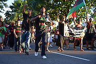 July 14, 2013  (Washington, DC)  Members of the National Black United Front lead nearly 1,000 people  as they marched to Howard University to protest the acquittal of George Zimmerman after his trial for killing Trayvon Martin. (Photo by Don Baxter/Media Images International)