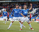 27.10.18 St Johnstone v St Mirren: David Wotherspoon celebrates with the ball up his shirt after scoring