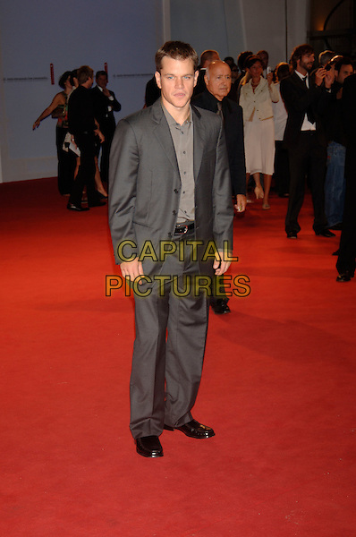 "MATT DAMON.""The Bothers Grimm"" Premiere.62nd International Film Festival,.Venice, 4th September 2005.full length La Biennale grey gray suit shirt.Ref: PL.www.capitalpictures.com.sales@capitalpictures.com.©Capital Pictures."